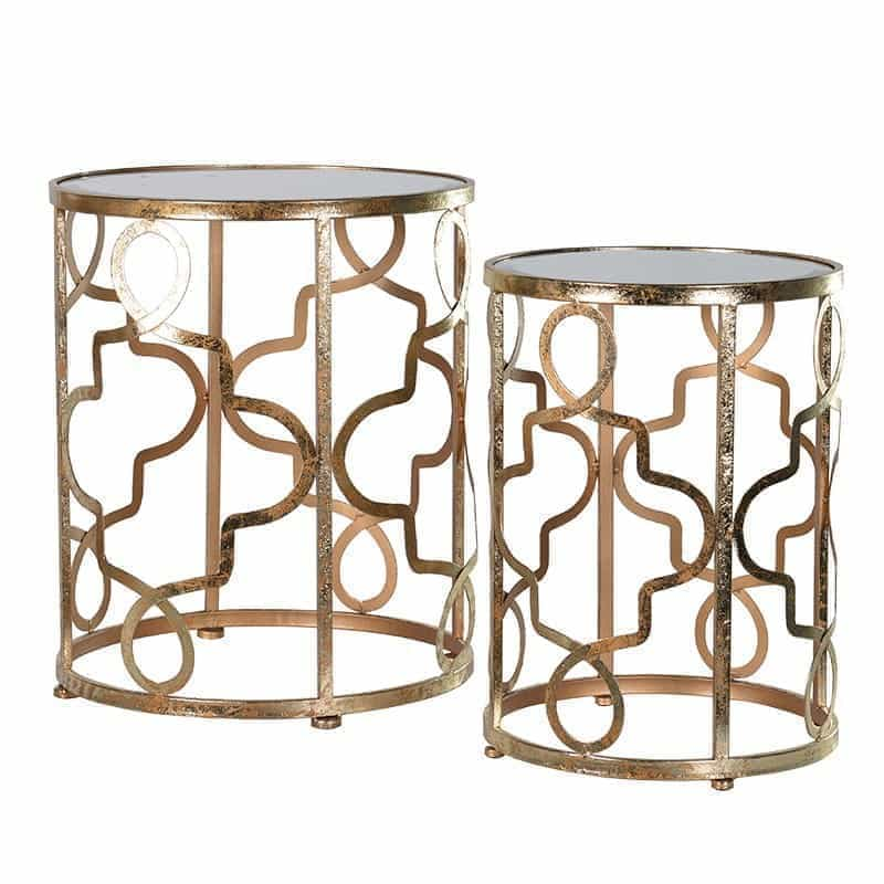 Set of 2 Geometric Gold Tables
