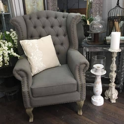 Grey Button Wingback Arm Chair