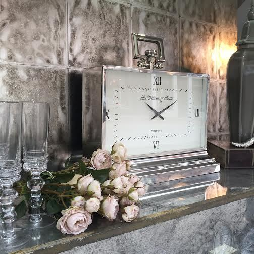 Oversized Chrome Mantle Clock