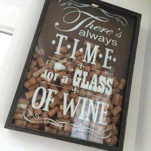 Time for Wine Cork Frame