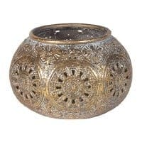 Morrocan Style Antiqued Gold Candle Holder