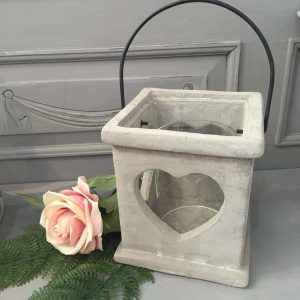 Rustic Cement Heart Lantern