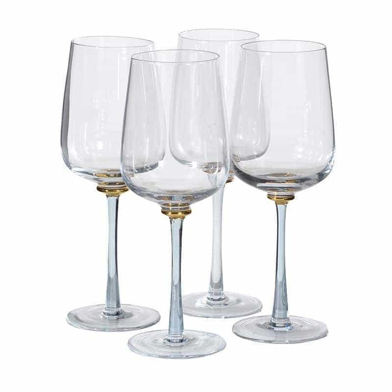 Set of 4 Blue & Gold Stem White Wine Glasses