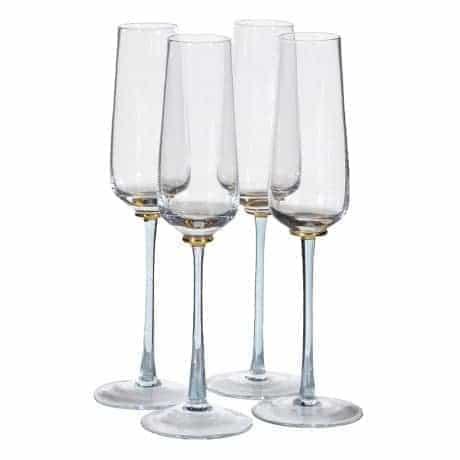 Set of 4 Blue & Gold Stem Champagne Flutes