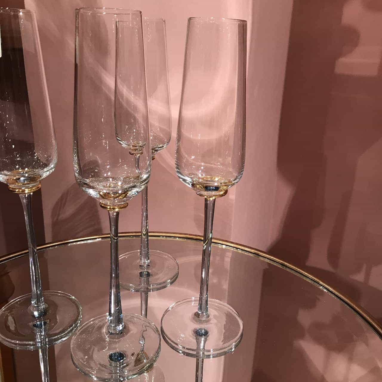 Set of 4 Blue & Gold Stem Champagne Flutes