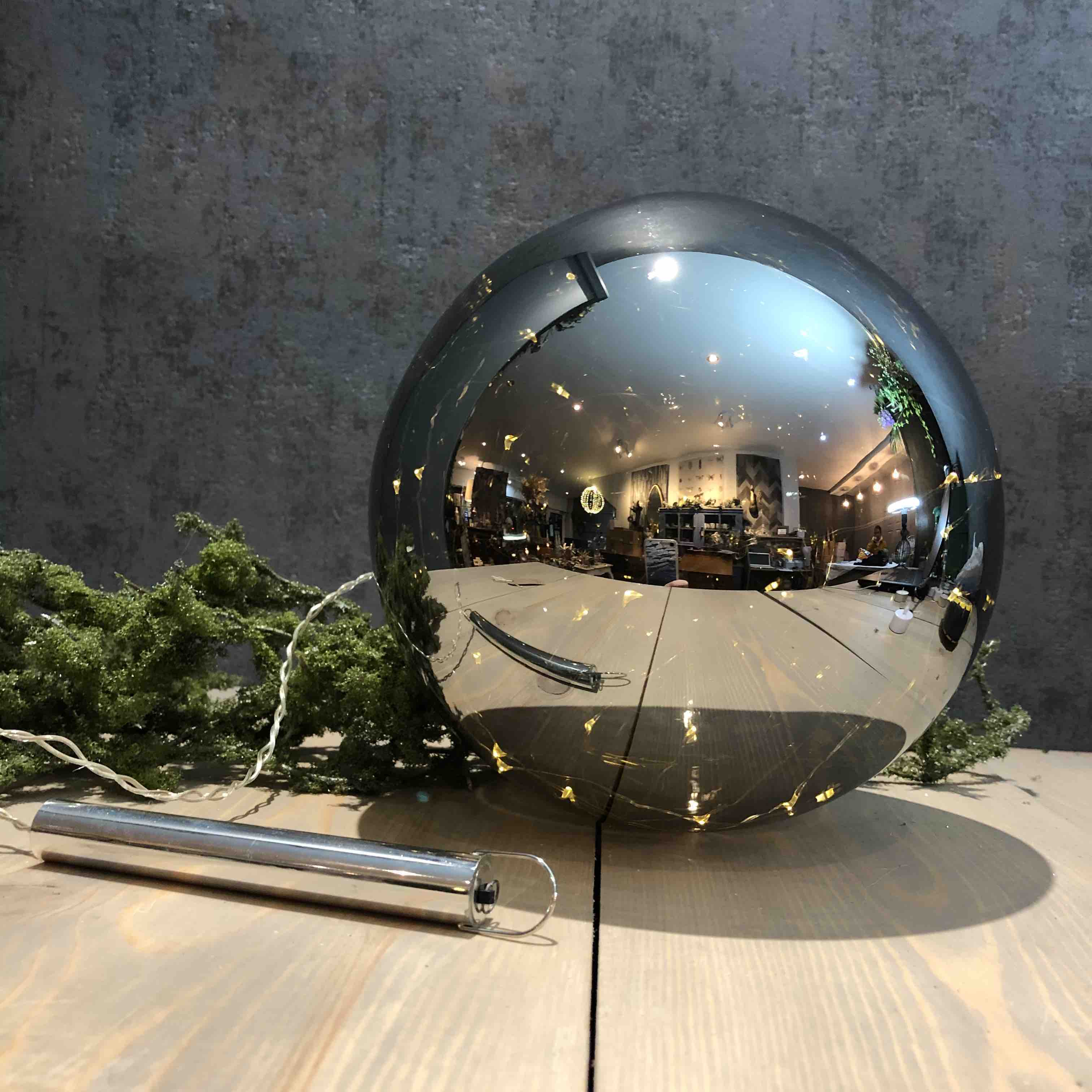 Light Up Grey Glass Bauble